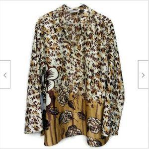 Chicos brown leopard print v-neck tunic shirt XL